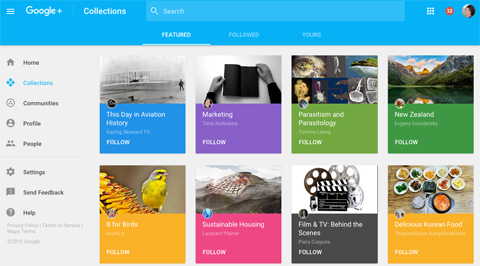 new google plus featured collections