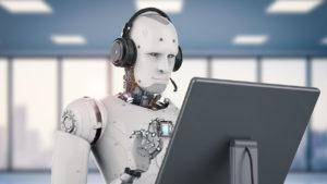 robot transcribing audio to text