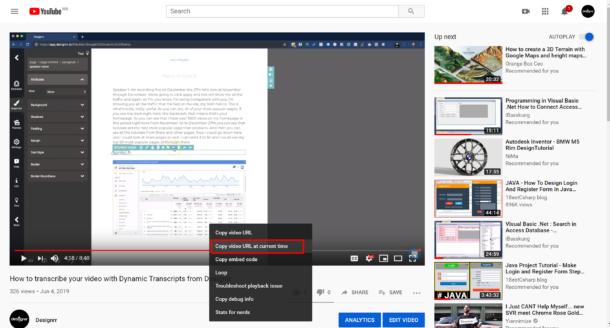 copy url at current time youtube
