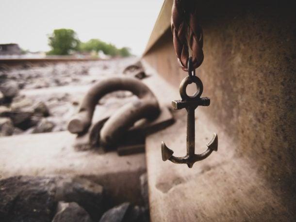gray metal anchor pendant