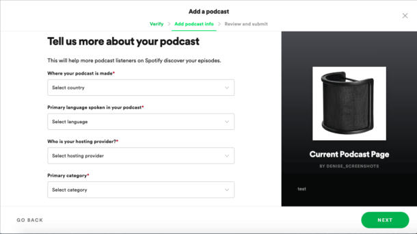 enter podcast spotify details