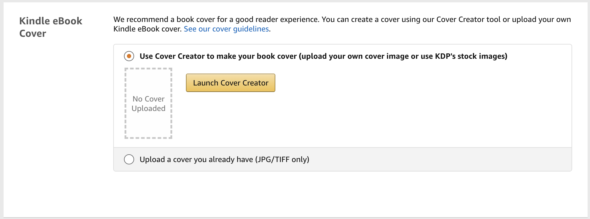 upload your book cover to amazon